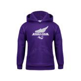 Youth Purple Fleece Hoodie-Track and Field Side Shoe Design