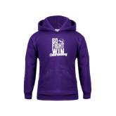 Youth Purple Fleece Hoodie-Go Fight Win