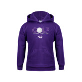 Youth Purple Fleece Hoodie-Golf Ball Design