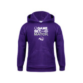 Youth Purple Fleece Hoodie-Game Set Match Tennis Design