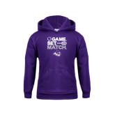 Youth Purple Fleece Hoodie-Game Set Match Tennis Design