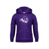 Youth Purple Fleece Hoodie-Angled ACU w/Wildcat Head