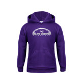 Youth Purple Fleece Hoodie-Wide Football Design