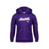 Youth Purple Fleece Hoodie-Baseball Script w/ Bat Design