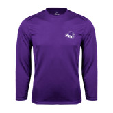 ACU Wildcat Syntrel Performance Purple Longsleeve Shirt-Angled ACU w/Wildcat Head