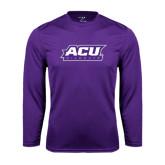 ACU Wildcat Syntrel Performance Purple Longsleeve Shirt-ACU Wildcats
