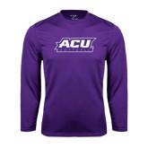 ACU Wildcat Syntrel Performance Purple Longsleeve Shirt-Softball