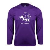 ACU Wildcat Syntrel Performance Purple Longsleeve Shirt-Alumni