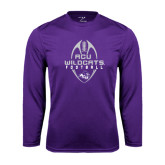 ACU Wildcat Syntrel Performance Purple Longsleeve Shirt-Tall Football Design