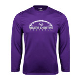 Performance Purple Longsleeve Shirt-Wide Football Design