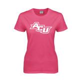 ACU Wildcat Ladies Fuchsia T Shirt-Angled ACU