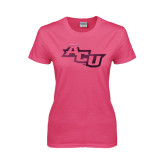 ACU Wildcat Ladies Fuchsia T Shirt-Angled ACU Foil