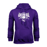 Purple Fleece Hoodie-Softball Bats and Plate Design