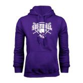 Purple Fleece Hoodie-Softball Bats and Plate Design