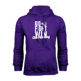 Purple Fleece Hoodie-Go Fight Win