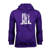 Purple Fleece Hoodie-Go Fight Win