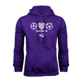 Purple Fleece Hoodie-Just Kick It Soccer Design