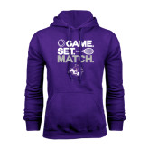 Purple Fleece Hoodie-Game Set Match Tennis Design