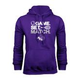 Purple Fleece Hoodie-Game Set Match Tennis Design