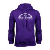Purple Fleece Hoodie-Wide Football Design