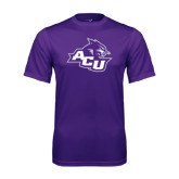 ACU Wildcat Syntrel Performance Purple Tee-Angled ACU w/Wildcat Head