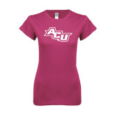 ACU Wildcat Ladies SoftStyle Junior Fitted Fuchsia Tee-Angled ACU