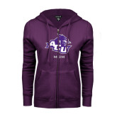 ENZA Ladies Purple Fleece Full Zip Hoodie-Mom