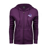 ENZA Ladies Purple Fleece Full Zip Hoodie-Angled ACU w/Wildcat Head