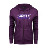 ENZA Ladies Purple Fleece Full Zip Hoodie-Football
