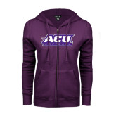 ENZA Ladies Purple Fleece Full Zip Hoodie-Softball