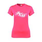 ACU Wildcat Ladies Performance Hot Pink Tee-Angled ACU