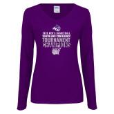 Ladies Purple Long Sleeve V Neck Tee-2019 Mens Basketball Champions