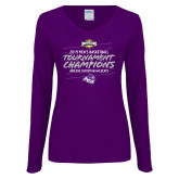 Ladies Purple Long Sleeve V Neck Tee-2019 Southern Conference Mens Basketball Champions