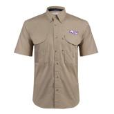 ACU Wildcat Khaki Short Sleeve Performance Fishing Shirt-Angled ACU