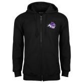 Black Fleece Full Zip Hoodie-Angled ACU w/Wildcat Head