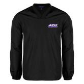 ACU Wildcat V Neck Black Raglan Windshirt-Football