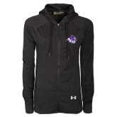 Ladies Under Armour Black Varsity Full Zip Hoodie-Angled ACU w/Wildcat Head