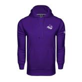 Under Armour Purple Performance Sweats Team Hoodie-Angled ACU w/Wildcat Head