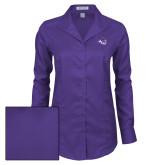 ACU Wildcat Ladies Red House Deep Purple Herringbone Long Sleeve Shirt-Angled ACU w/Wildcat Head