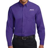 Purple Twill Button Down Long Sleeve-ACU Wildcats