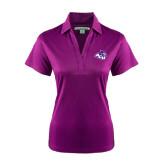 Ladies Purple Performance Fine Jacquard Polo-Angled ACU w/Wildcat Head