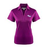 Ladies Purple Performance Fine Jacquard Polo-Angled ACU