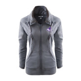 Ladies Sport Wick Stretch Full Zip Charcoal Jacket-Angled ACU w/Wildcat Head