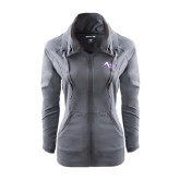 Ladies Sport Wick Stretch Full Zip Charcoal Jacket-Angled ACU