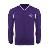 ACU Wildcat Colorblock V Neck Purple/White Raglan Windshirt-Angled ACU w/Wildcat Head
