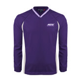 ACU Wildcat Colorblock V Neck Purple/White Raglan Windshirt-ACU Wildcats