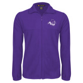 ACU Wildcat Fleece Full Zip Purple Jacket-Angled ACU w/Wildcat Head