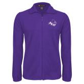 ACU Wildcat Fleece Full Zip Purple Jacket-Angled ACU w/Wildcat Head