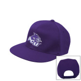 Purple Flat Bill Snapback Hat-Angled ACU w/Wildcat Head