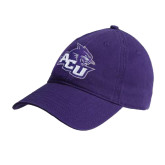 Purple Twill Unstructured Low Profile Hat-Angled ACU w/Wildcat Head